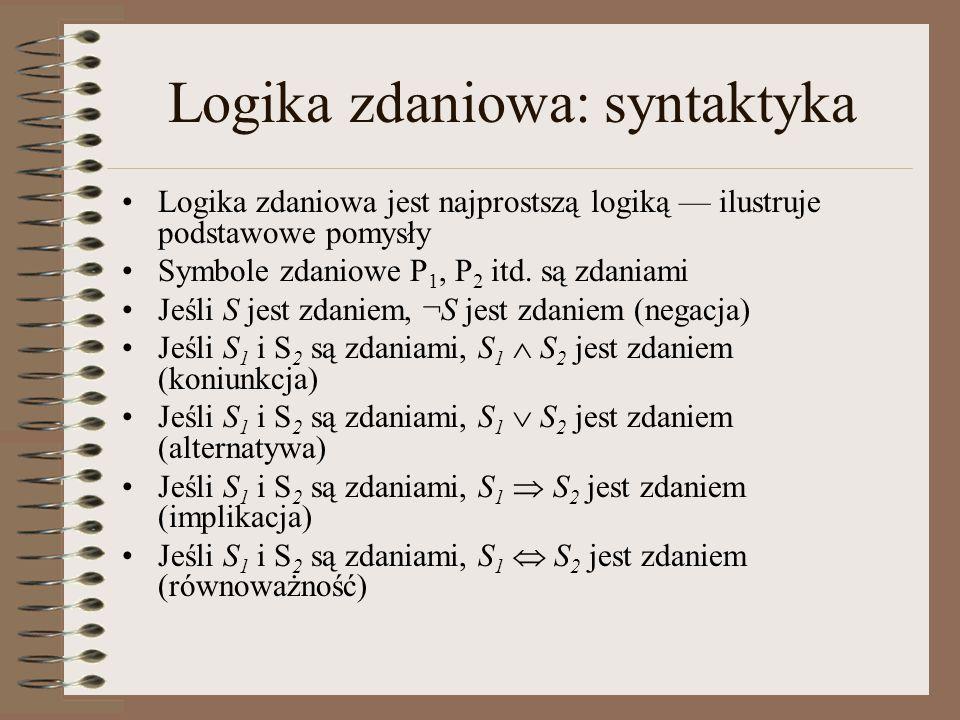 Logika zdaniowa: syntaktyka Logika zdaniowa jest najprostszą logiką — ilustruje podstawowe pomysły Symbole zdaniowe P 1, P 2 itd. są zdaniami Jeśli S