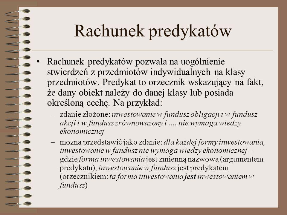 Rachunek predykatów Rachunek predykatów pozwala na uogólnienie stwierdzeń z przedmiotów indywidualnych na klasy przedmiotów. Predykat to orzecznik wsk