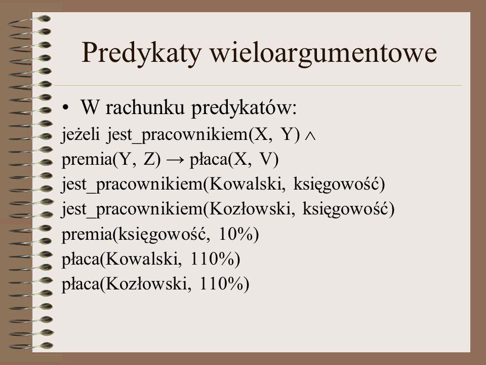 Predykaty wieloargumentowe W rachunku predykatów: jeżeli jest_pracownikiem(X, Y)  premia(Y, Z) → płaca(X, V) jest_pracownikiem(Kowalski, księgowość)