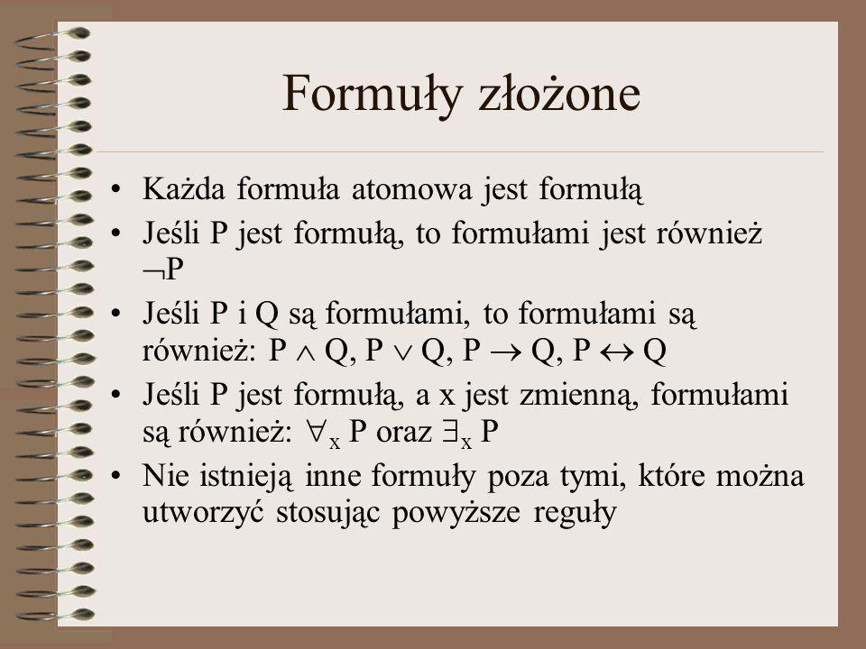 Formuły złożone Każda formuła atomowa jest formułą Jeśli P jest formułą, to formułami jest również  P Jeśli P i Q są formułami, to formułami są równi