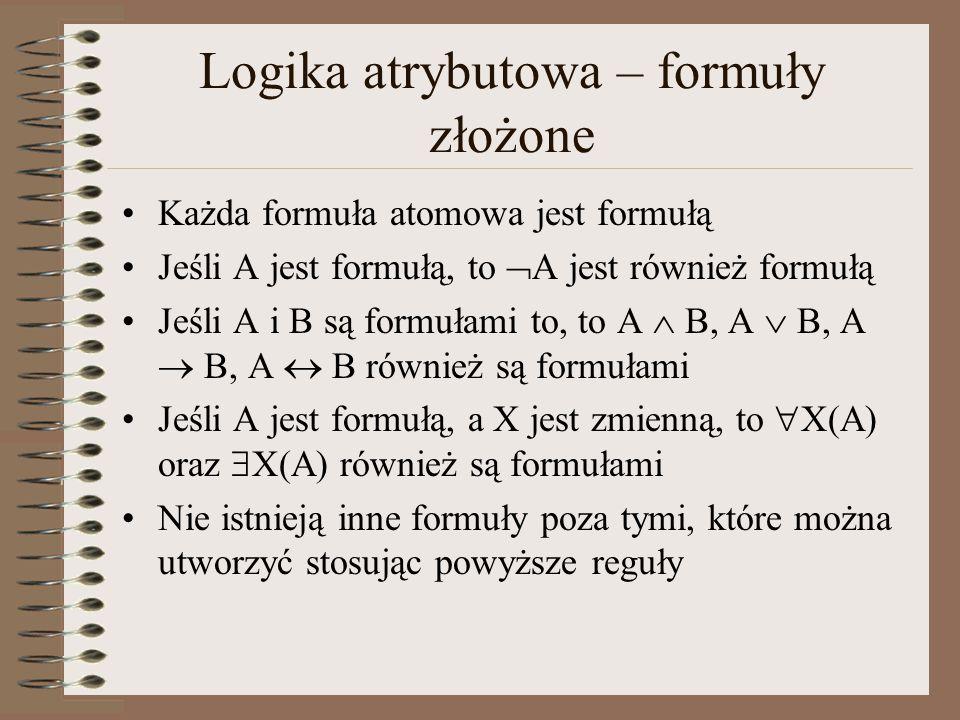 Logika atrybutowa – formuły złożone Każda formuła atomowa jest formułą Jeśli A jest formułą, to  A jest również formułą Jeśli A i B są formułami to,