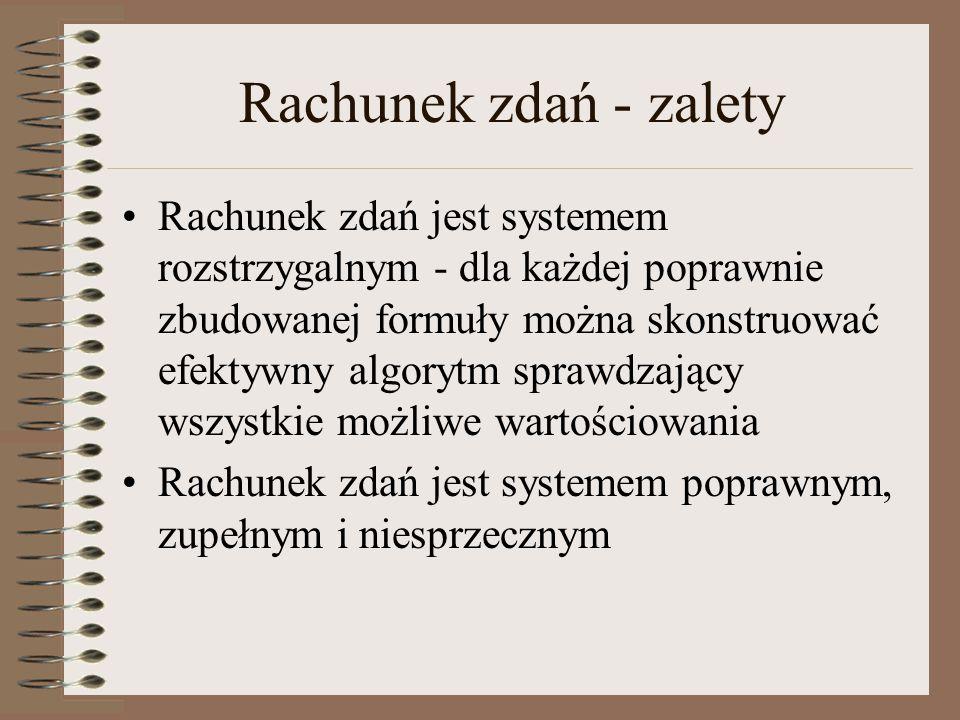 Układ implikacyjno-negacyjny Łukasiewicza Reguła odrywania (prawo Dunsa Szkota) Jeżeli p jest prawdziwe, to jeżeli p jest jednocześnie fałszywe to wszystko jest możliwe Prawdziwa jest każda implikacja, której poprzednik jest fałszywy