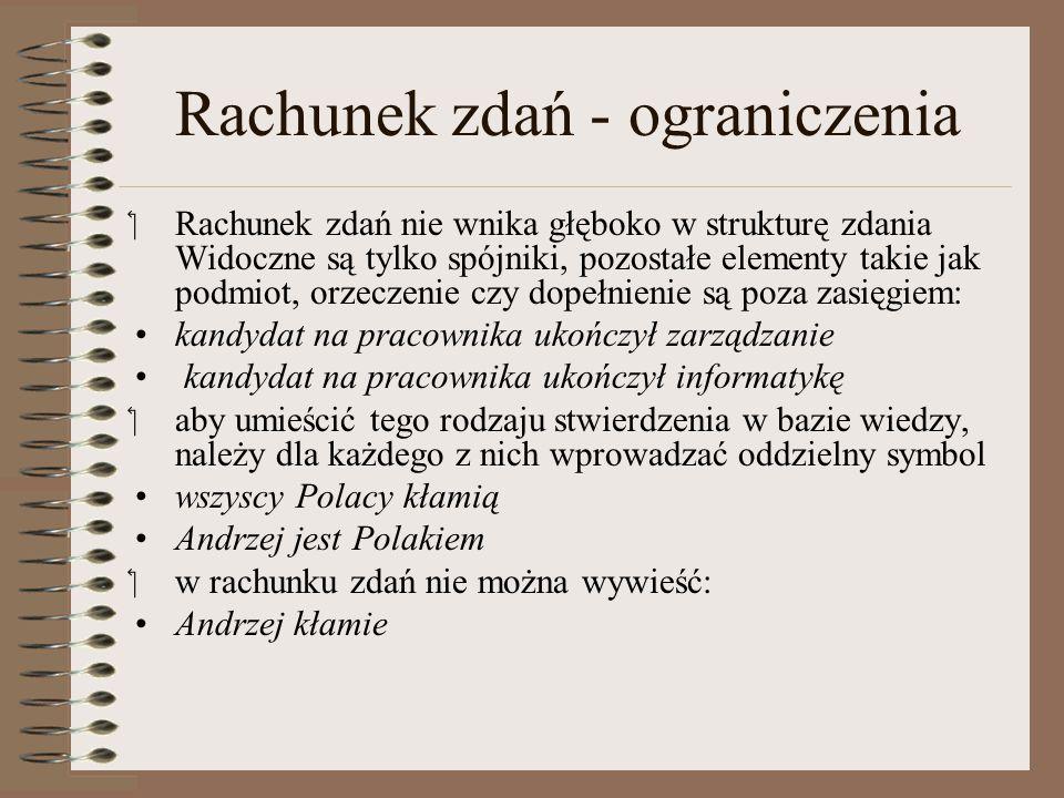 """Rachunek zdań - ograniczenia """"Jeśli Andrzej jest Polakiem, to Andrzej kłamie , """"Andrzej jest Polakiem ."""