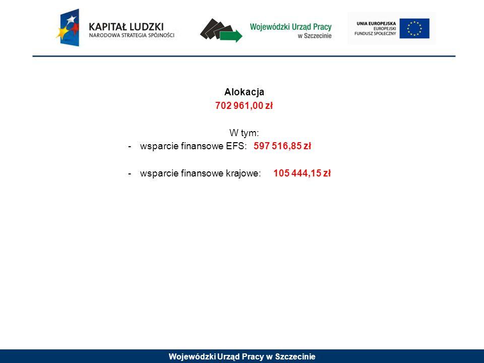 Wojewódzki Urząd Pracy w Szczecinie Alokacja 702 961,00 zł W tym: -wsparcie finansowe EFS: 597 516,85 zł -wsparcie finansowe krajowe:105 444,15 zł