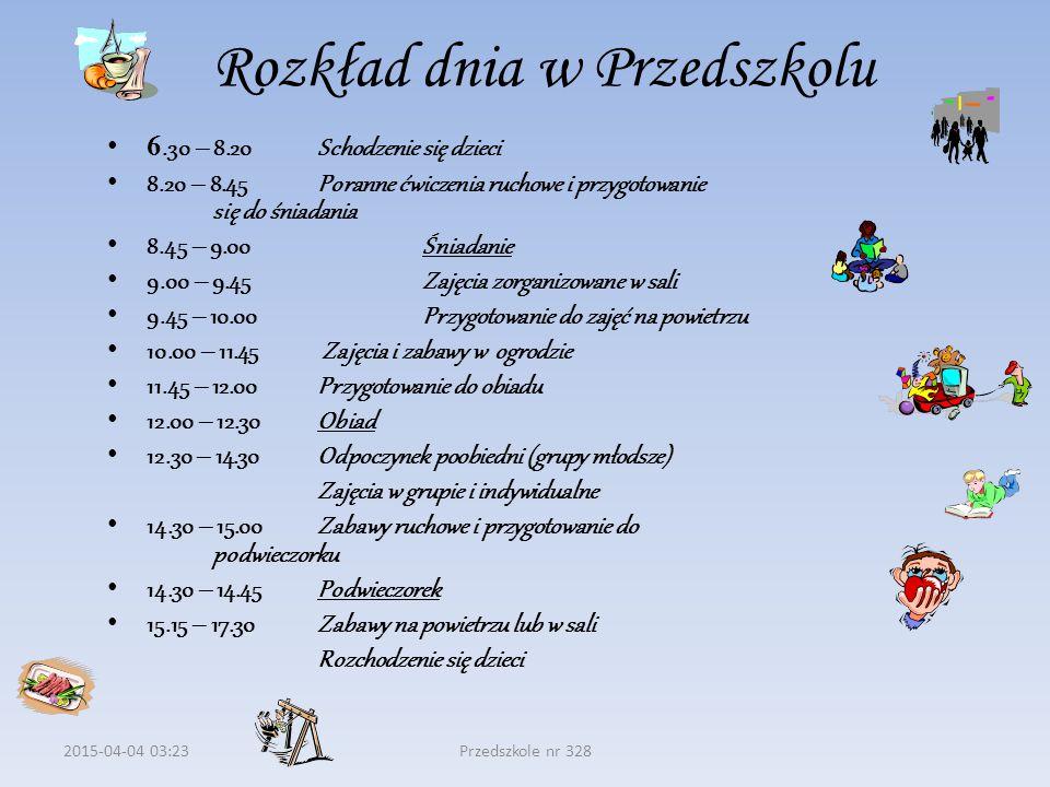 2015-04-04 03:24Przedszkole nr 328 Rozkład dnia w Przedszkolu 6.30 – 8.20Schodzenie się dzieci 8.20 – 8.45Poranne ćwiczenia ruchowe i przygotowanie się do śniadania 8.45 – 9.00Śniadanie 9.00 – 9.45Zajęcia zorganizowane w sali 9.45 – 10.00Przygotowanie do zajęć na powietrzu 10.00 – 11.45 Zajęcia i zabawy w ogrodzie 11.45 – 12.00Przygotowanie do obiadu 12.00 – 12.30Obiad 12.30 – 14.30Odpoczynek poobiedni (grupy młodsze) Zajęcia w grupie i indywidualne 14.30 – 15.00Zabawy ruchowe i przygotowanie do podwieczorku 14.30 – 14.45Podwieczorek 15.15 – 17.30 Zabawy na powietrzu lub w sali Rozchodzenie się dzieci