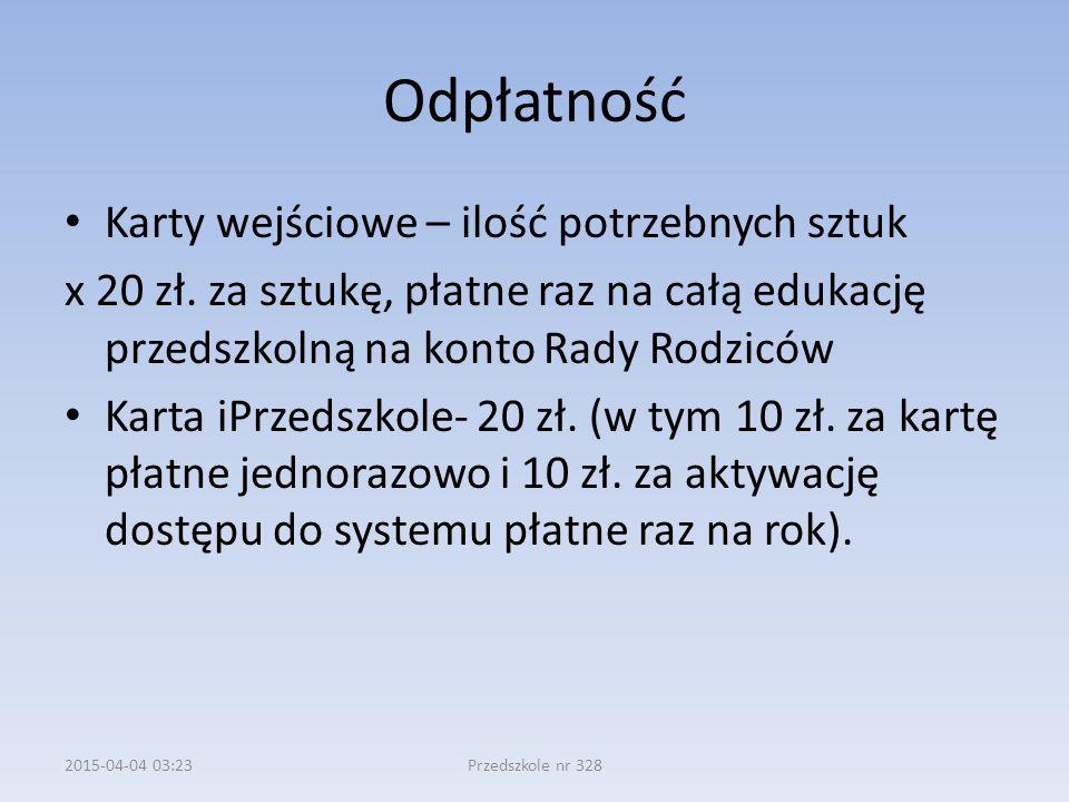 Odpłatność Karty wejściowe – ilość potrzebnych sztuk x 20 zł.