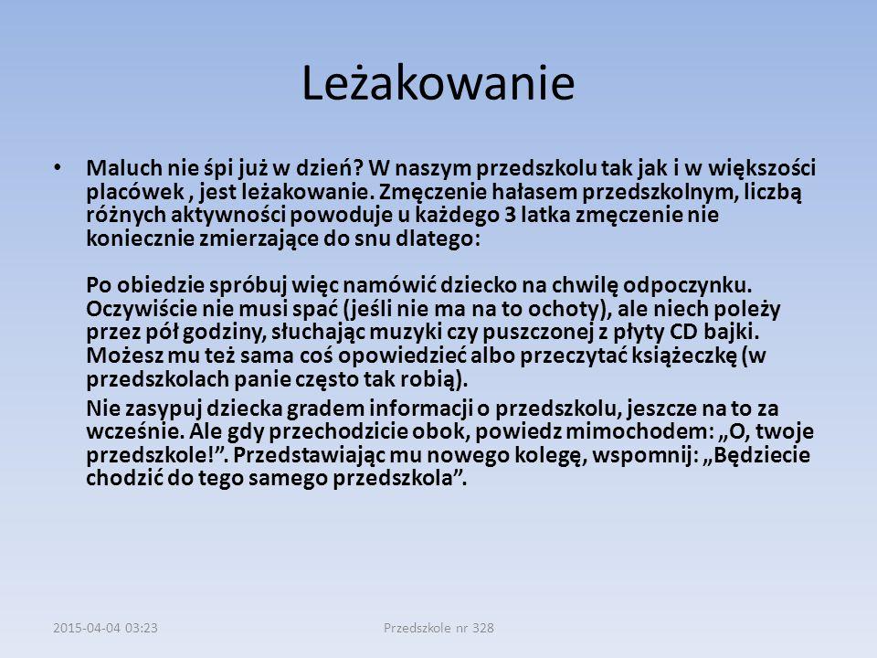 2015-04-04 03:24Przedszkole nr 328 Leżakowanie Maluch nie śpi już w dzień.