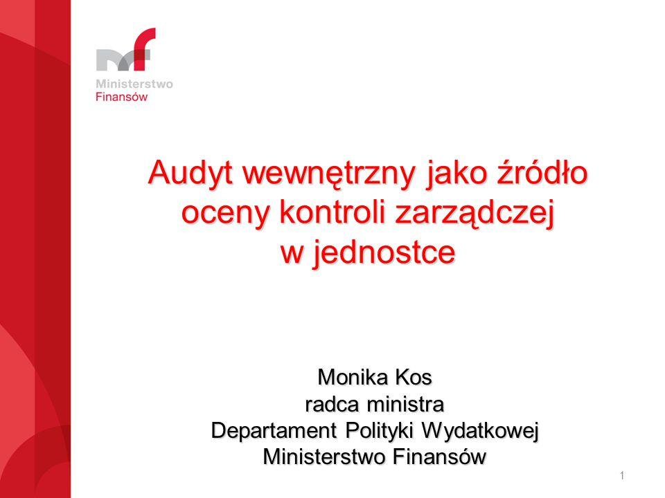 Audyt wewnętrzny jako źródło oceny kontroli zarządczej w jednostce Monika Kos radca ministra Departament Polityki Wydatkowej Ministerstwo Finansów 1
