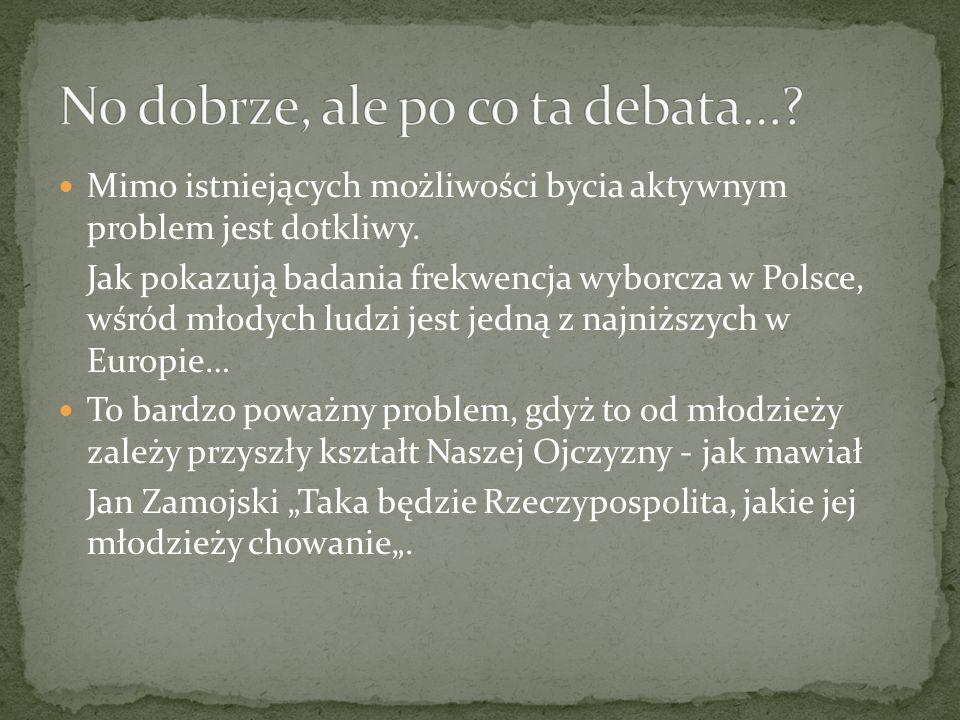 Jednym z głównych problemów, który dotyka polskie społeczeństwo jest niska frekwencja wyborcza wśród młodzieży.