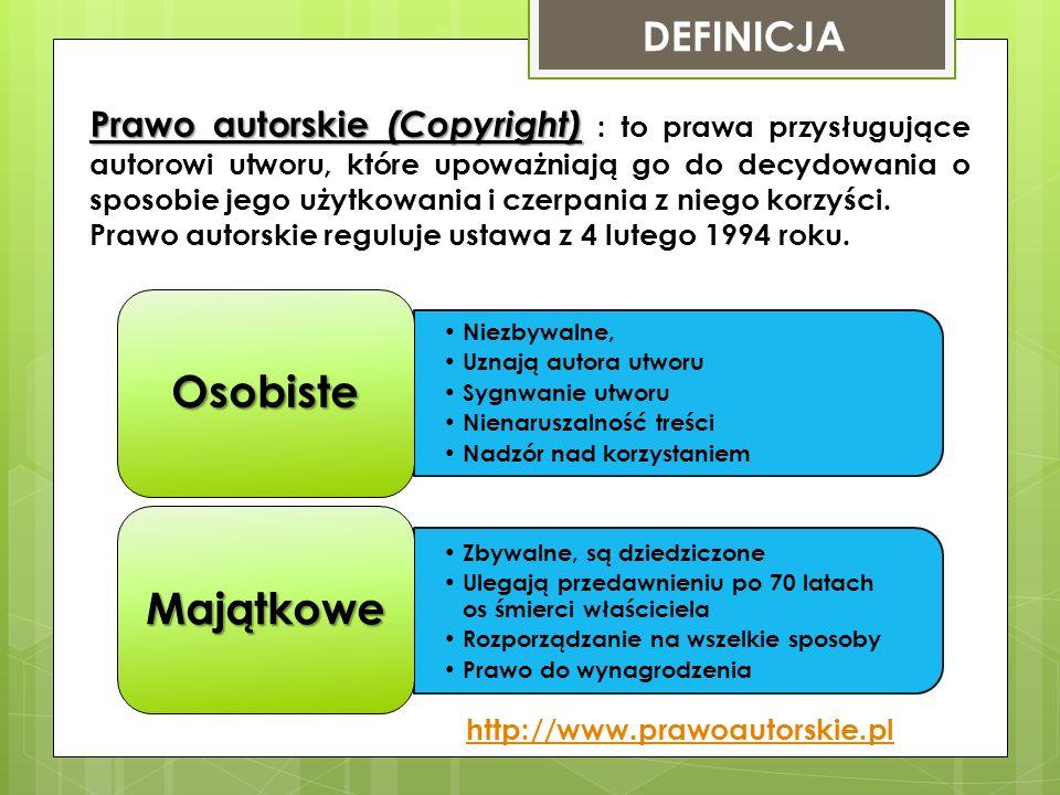 DEFINICJA Prawo autorskie (Copyright) Prawo autorskie (Copyright) : to prawa przysługujące autorowi utworu, które upoważniają go do decydowania o spos