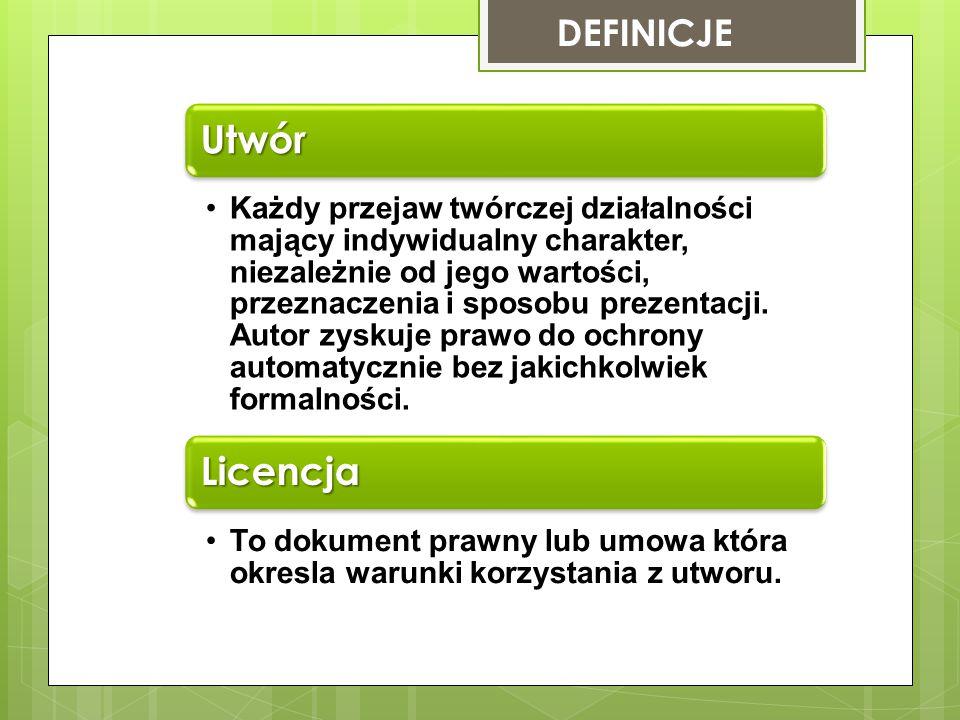 UTWORY Stworzone przez autora PIERWOTNE Modyfikacje utworu pirwotnego np,: tłumaczenia.