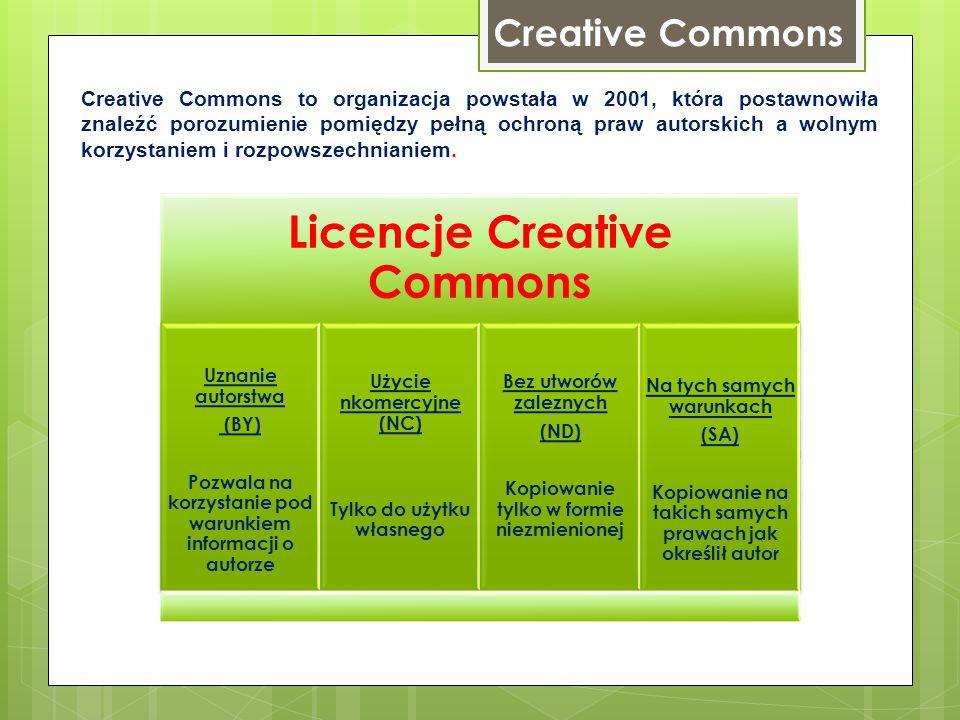 Creative Commons Creative Commons to organizacja powstała w 2001, która postawnowiła znaleźć porozumienie pomiędzy pełną ochroną praw autorskich a wol