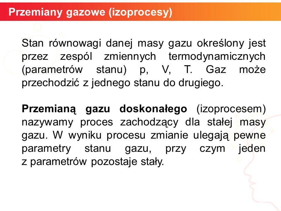 Przemiany gazowe (izoprocesy) 4 Stan równowagi danej masy gazu określony jest przez zespól zmiennych termodynamicznych (parametrów stanu) p, V, T. Gaz