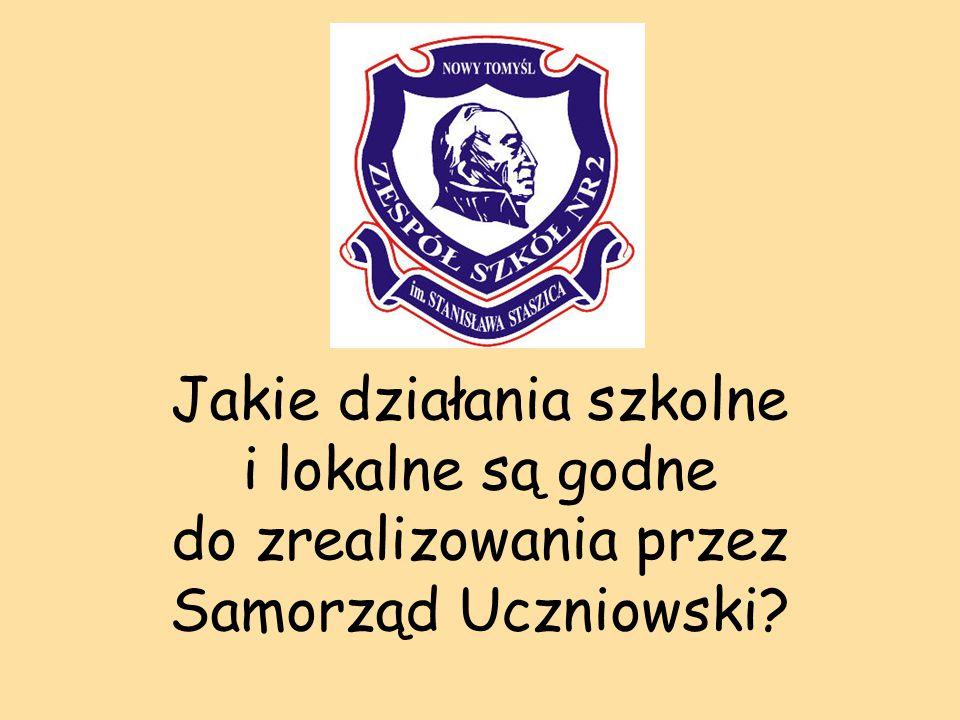 Jakie działania szkolne i lokalne są godne do zrealizowania przez Samorząd Uczniowski