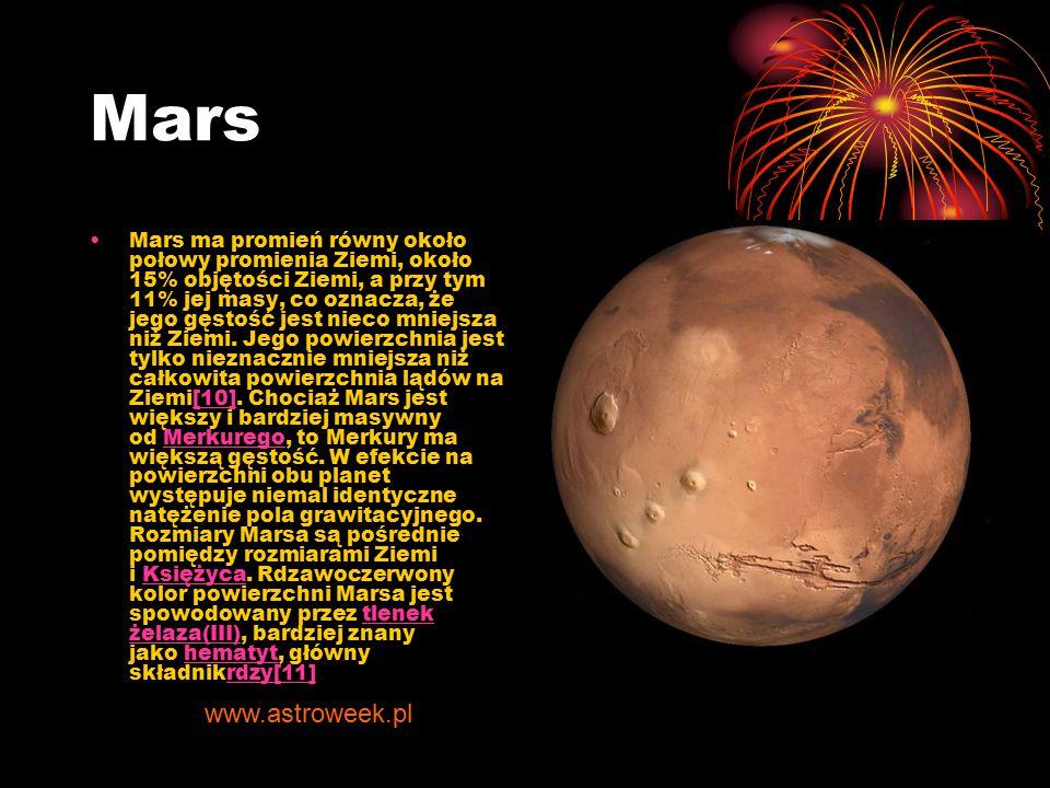 Mars Mars ma promień równy około połowy promienia Ziemi, około 15% objętości Ziemi, a przy tym 11% jej masy, co oznacza, że jego gęstość jest nieco mn