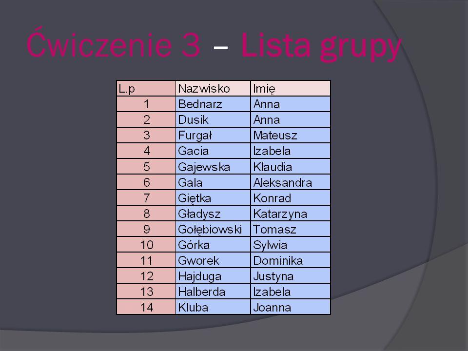 Ćwiczenie 3 – Lista grupy