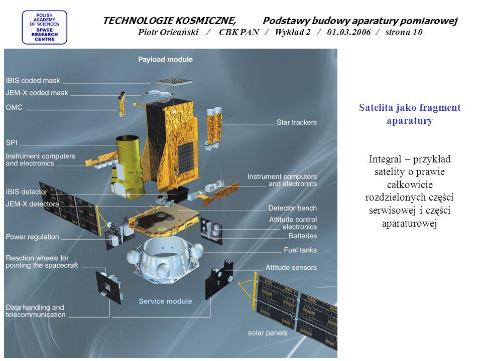 Satelita jako fragment aparatury Integral – przykład satelity o prawie całkowicie rozdzielonych części serwisowej i części aparaturowej TECHNOLOGIE KO