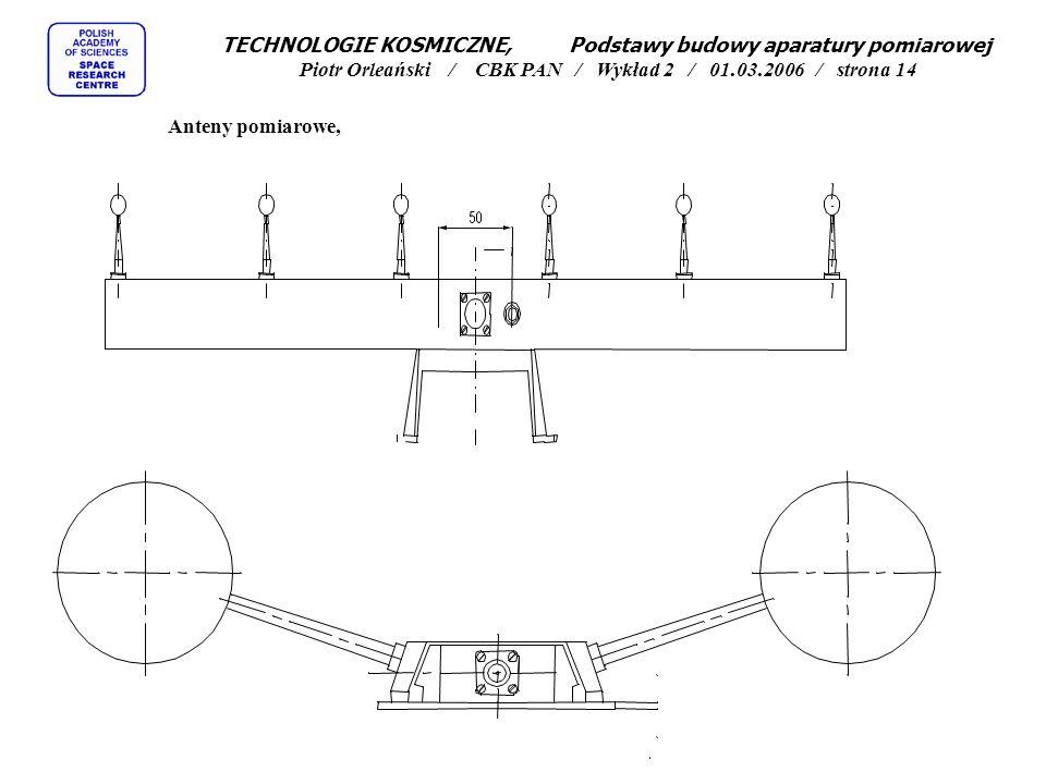 Anteny pomiarowe, TECHNOLOGIE KOSMICZNE, Podstawy budowy aparatury pomiarowej Piotr Orleański / CBK PAN / Wykład 2 / 01.03.2006 / strona 14