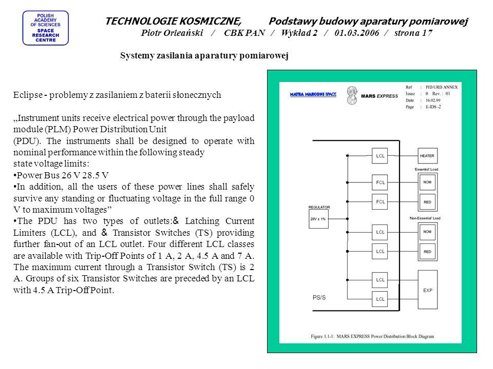 """Systemy zasilania aparatury pomiarowej Eclipse - problemy z zasilaniem z baterii słonecznych """"Instrument units receive electrical power through the pa"""