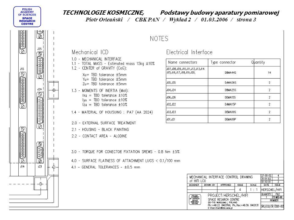 TECHNOLOGIE KOSMICZNE, Podstawy budowy aparatury pomiarowej Piotr Orleański / CBK PAN / Wykład 2 / 01.03.2006 / strona 34