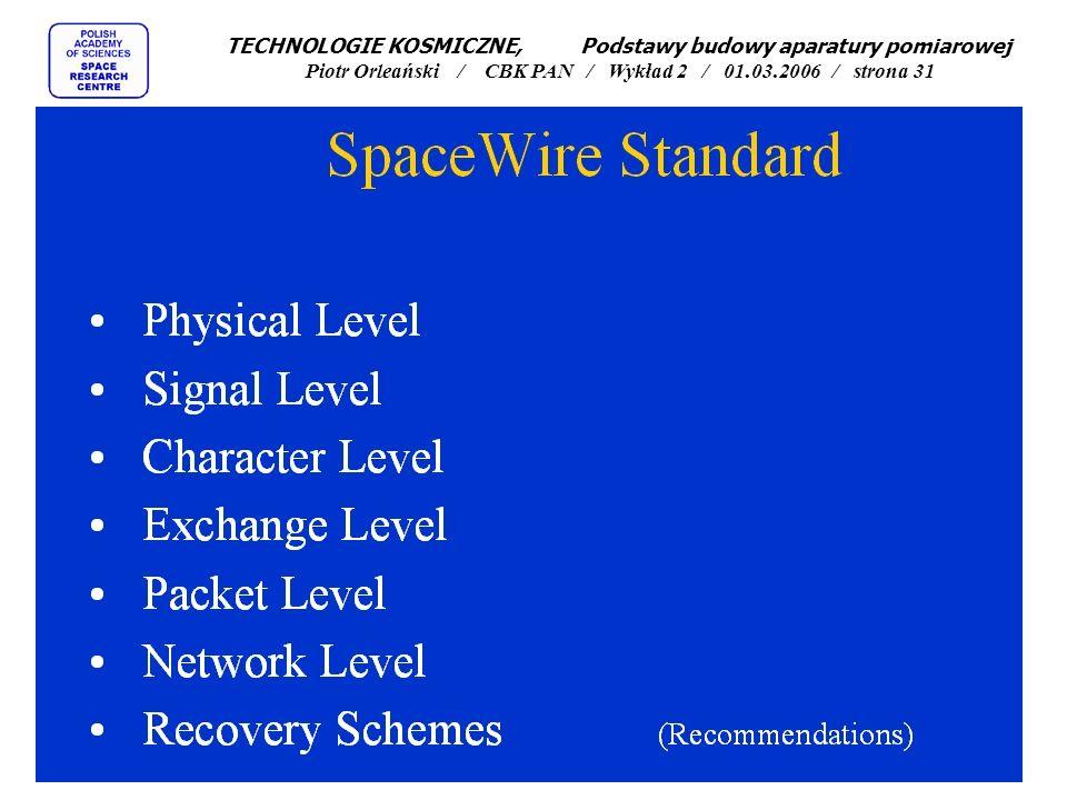 TECHNOLOGIE KOSMICZNE, Podstawy budowy aparatury pomiarowej Piotr Orleański / CBK PAN / Wykład 2 / 01.03.2006 / strona 31