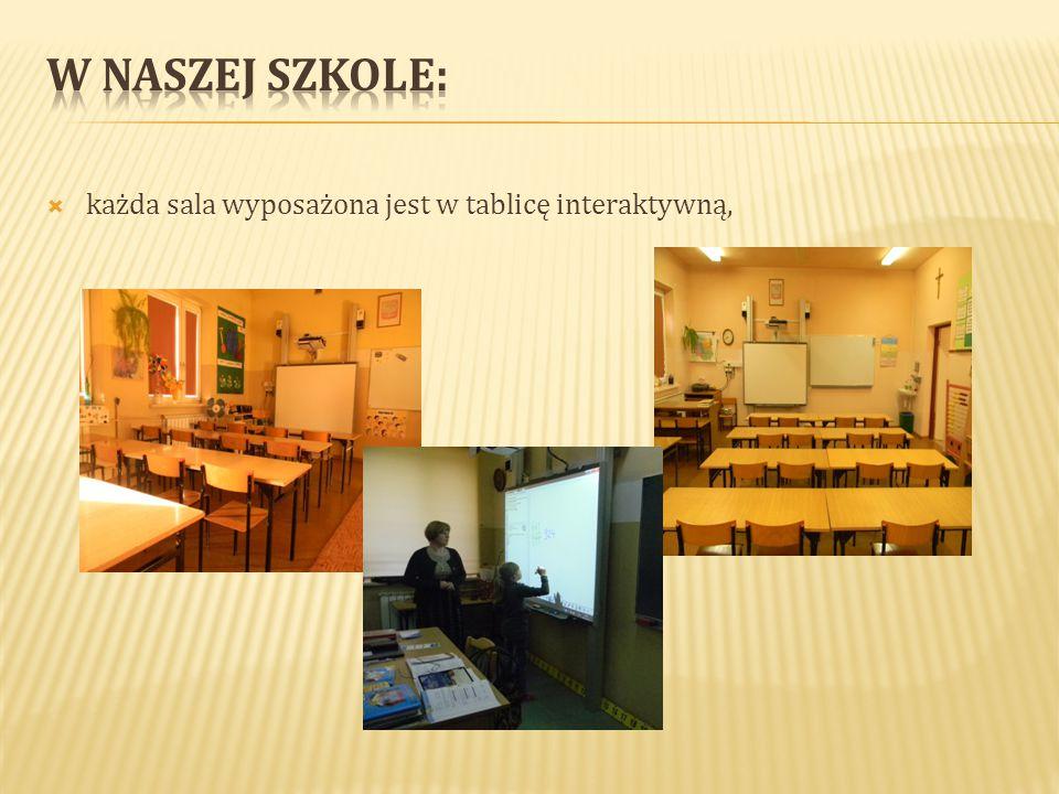  każda sala wyposażona jest w tablicę interaktywną,
