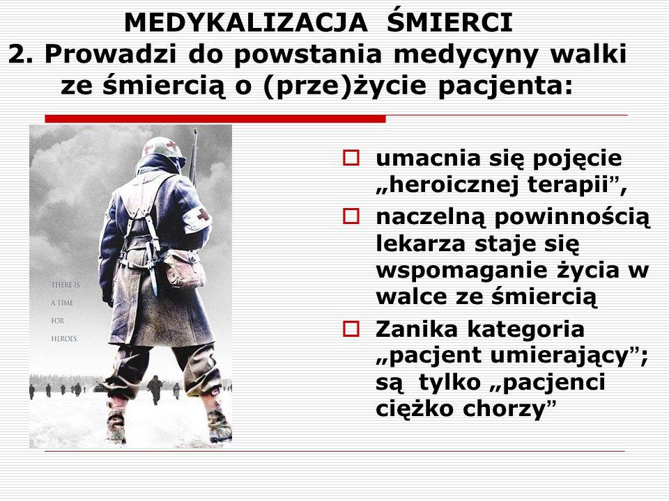 """MEDYKALIZACJA ŚMIERCI 2. Prowadzi do powstania medycyny walki ze śmiercią o (prze)życie pacjenta:  umacnia się pojęcie """"heroicznej terapii"""",  naczel"""