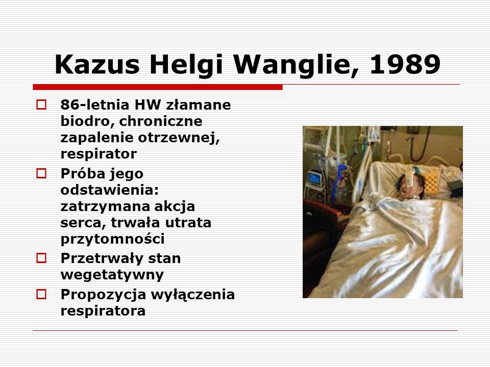 Kazus Helgi Wanglie, 1989  86-letnia HW złamane biodro, chroniczne zapalenie otrzewnej, respirator  Próba jego odstawienia: zatrzymana akcja serca,