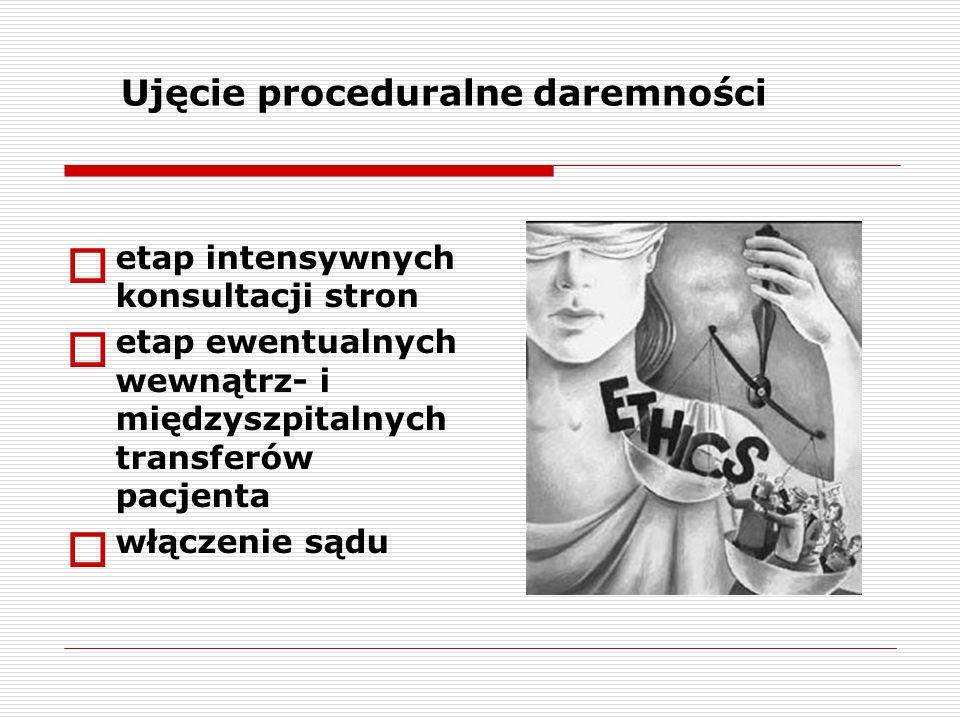  etap intensywnych konsultacji stron  etap ewentualnych wewnątrz- i międzyszpitalnych transferów pacjenta  włączenie sądu