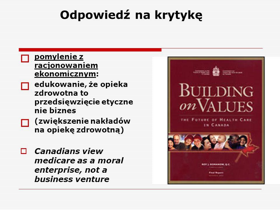 Odpowiedź na krytykę  pomylenie z racjonowaniem ekonomicznym:  edukowanie, że opieka zdrowotna to przedsięwzięcie etyczne nie biznes  (zwiększenie