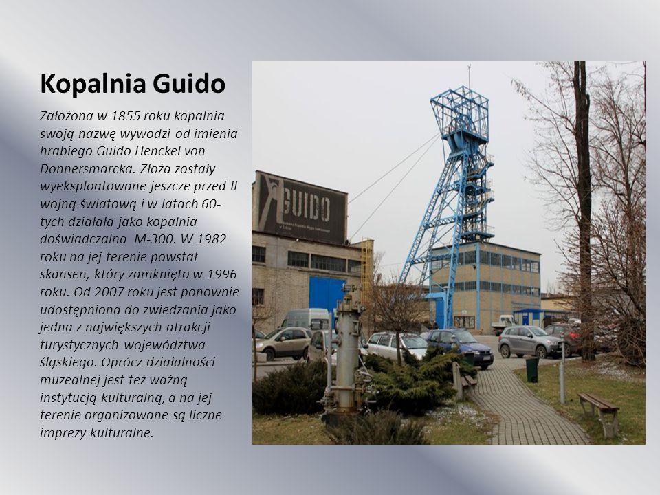Kopalnia Guido Założona w 1855 roku kopalnia swoją nazwę wywodzi od imienia hrabiego Guido Henckel von Donnersmarcka. Złoża zostały wyeksploatowane je