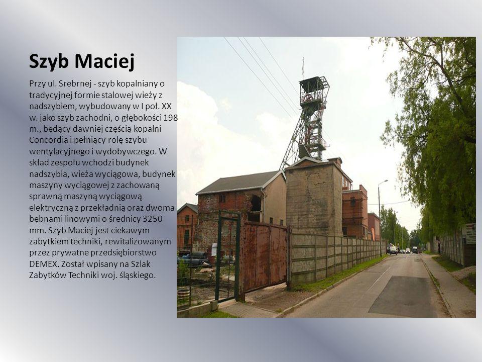 Szyb Maciej Przy ul. Srebrnej - szyb kopalniany o tradycyjnej formie stalowej wieży z nadszybiem, wybudowany w I poł. XX w. jako szyb zachodni, o głęb