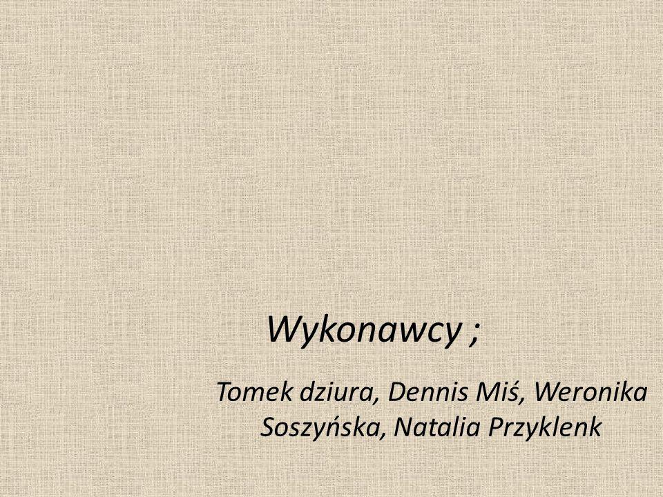 Wykonawcy ; Tomek dziura, Dennis Miś, Weronika Soszyńska, Natalia Przyklenk