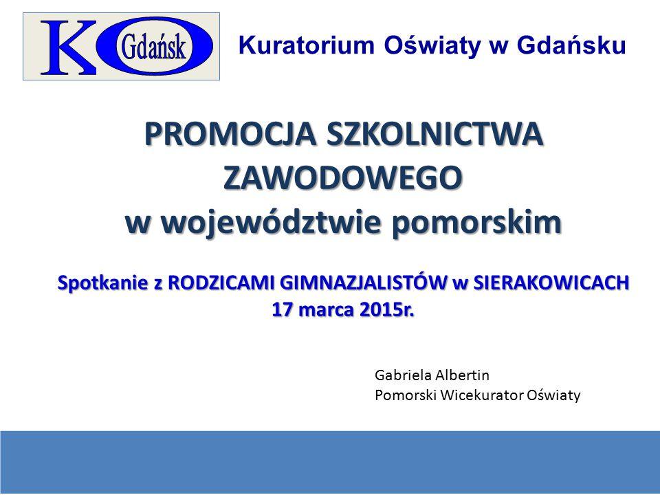 Kuratorium Oświaty w Gdańsku PROMOCJA SZKOLNICTWA ZAWODOWEGO w województwie pomorskim Spotkanie z RODZICAMI GIMNAZJALISTÓW w SIERAKOWICACH 17 marca 20