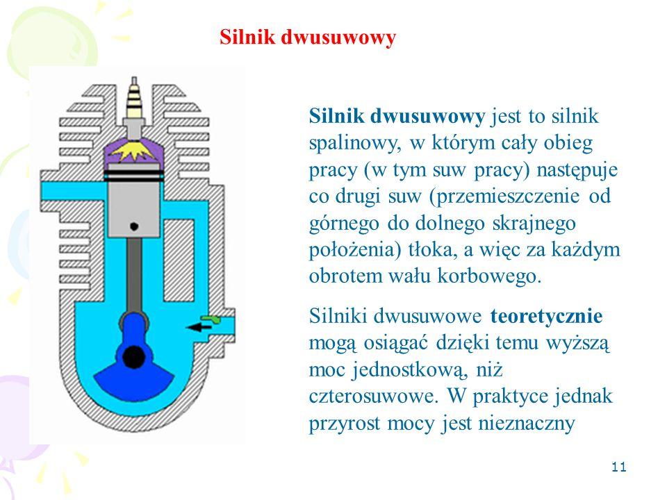 11 Silnik dwusuwowy jest to silnik spalinowy, w którym cały obieg pracy (w tym suw pracy) następuje co drugi suw (przemieszczenie od górnego do dolneg