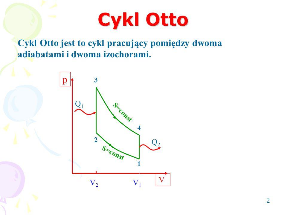 Cykl Otto 2 Cykl Otto jest to cykl pracujący pomiędzy dwoma adiabatami i dwoma izochorami. 1 2 3 4 p V Q1Q1 Q2Q2 S=const V2V2 V1V1