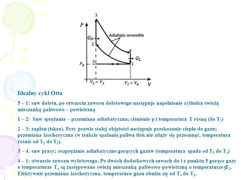 5 Idealny cykl Otta 5 – 1: suw dolotu, po otwarciu zaworu dolotowego następuje napełnienie cylindra świeżą mieszanką paliwowo – powietrzną 1 – 2: Suw