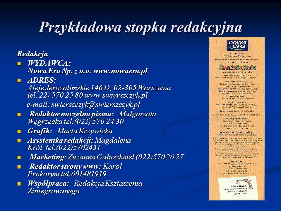 Przykładowa stopka redakcyjna Redakcja WYDAWCA: Nowa Era Sp. z o.o. www.nowaera.pl WYDAWCA: Nowa Era Sp. z o.o. www.nowaera.pl ADRES: Aleje Jerozolims
