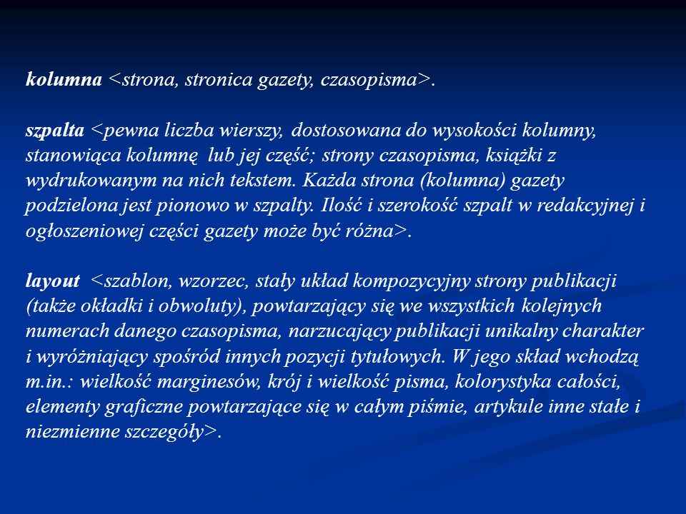 kolumna. szpalta. layout.