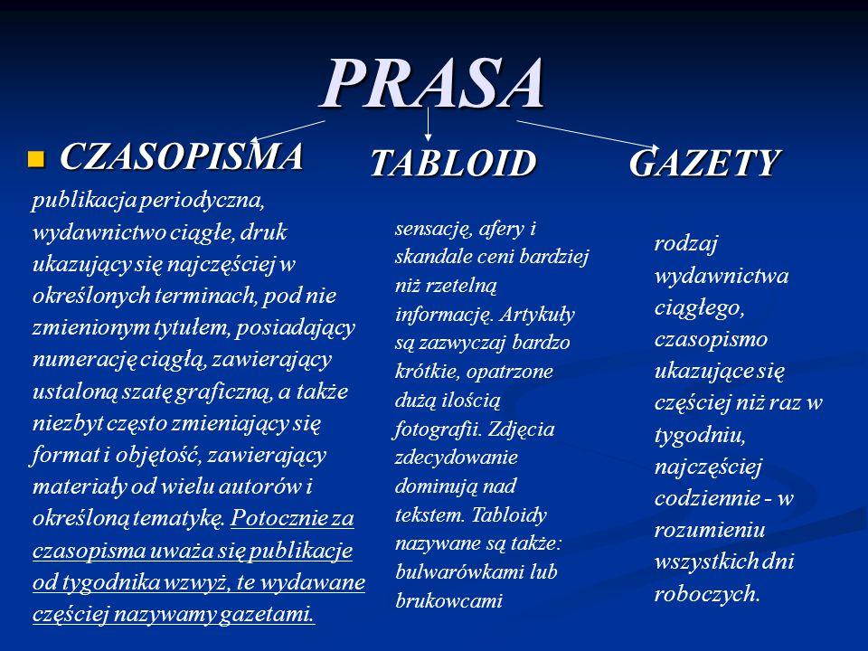 PRASA CZASOPISMA CZASOPISMA GAZETY publikacja periodyczna, wydawnictwo ciągłe, druk ukazujący się najczęściej w określonych terminach, pod nie zmienio