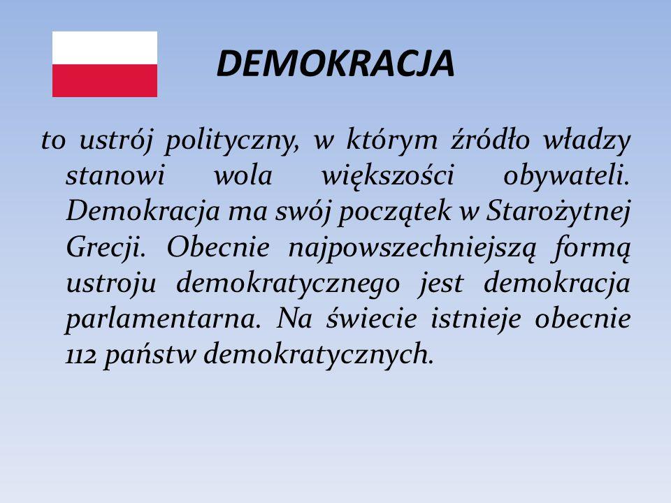 DEMOKRACJA to ustrój polityczny, w którym źródło władzy stanowi wola większości obywateli. Demokracja ma swój początek w Starożytnej Grecji. Obecnie n