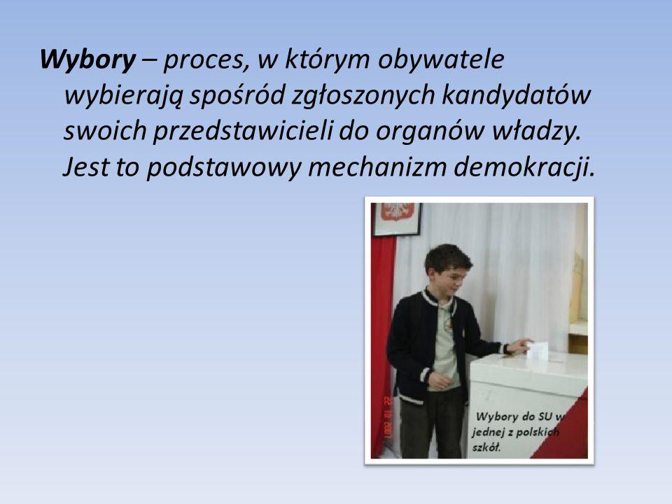 Wybory – proces, w którym obywatele wybierają spośród zgłoszonych kandydatów swoich przedstawicieli do organów władzy. Jest to podstawowy mechanizm de
