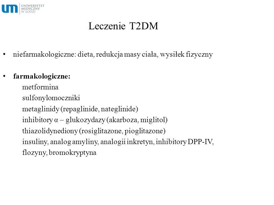 Leczenie T2DM niefarmakologiczne: dieta, redukcja masy ciała, wysiłek fizyczny farmakologiczne: metformina sulfonylomoczniki metaglinidy (repaglinide,