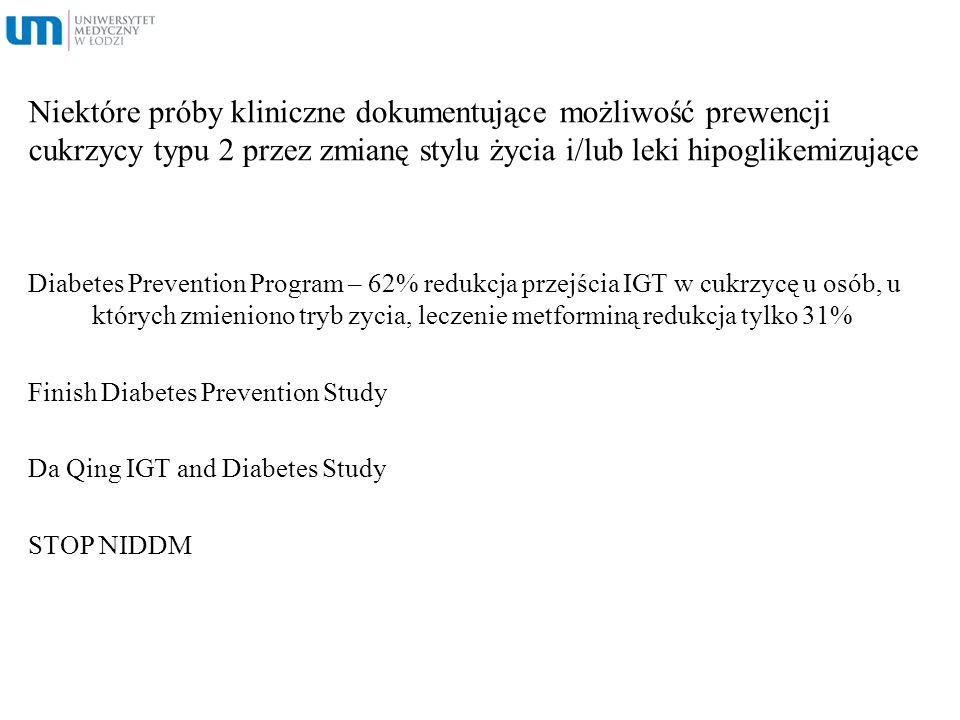 Niektóre próby kliniczne dokumentujące możliwość prewencji cukrzycy typu 2 przez zmianę stylu życia i/lub leki hipoglikemizujące Diabetes Prevention P