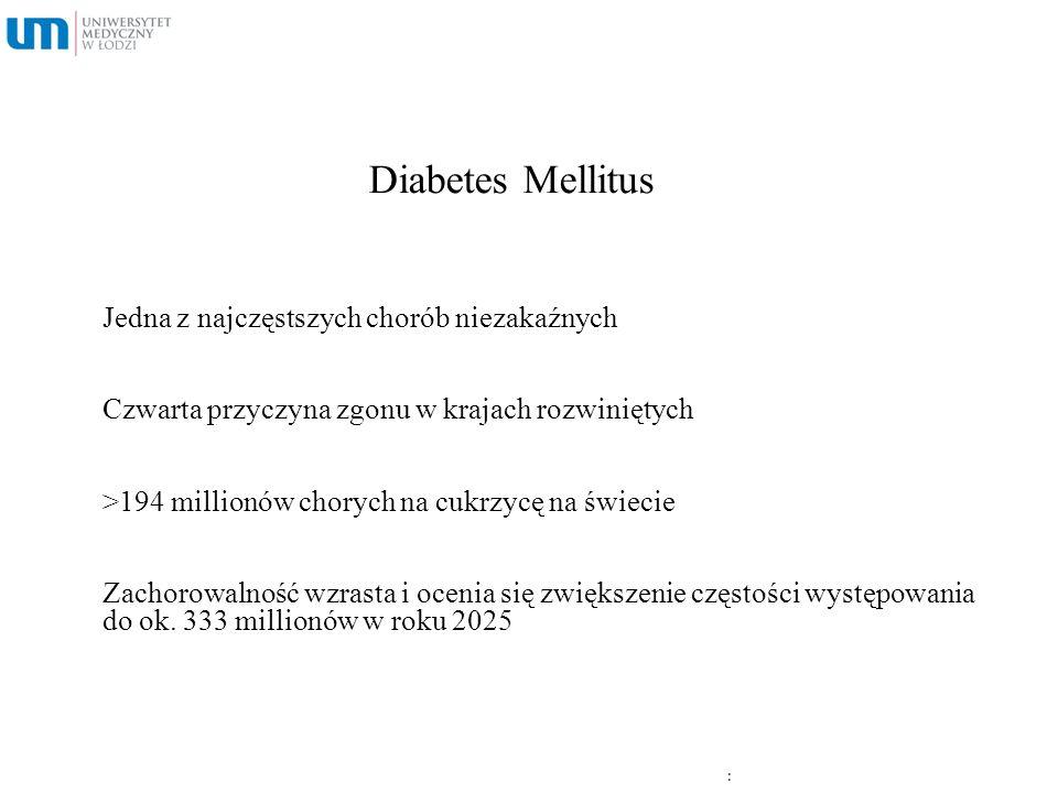 Diabetes Mellitus Jedna z najczęstszych chorób niezakaźnych Czwarta przyczyna zgonu w krajach rozwiniętych >194 millionów chorych na cukrzycę na świec