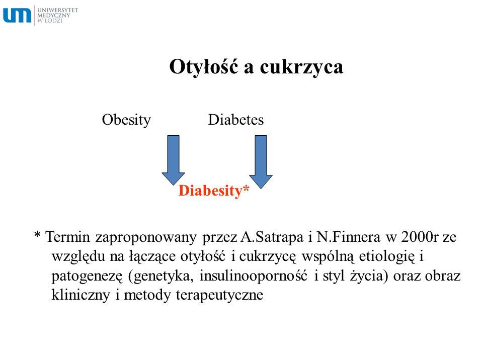 Otyłość a cukrzyca Obesity Diabetes Diabesity* * Termin zaproponowany przez A.Satrapa i N.Finnera w 2000r ze względu na łączące otyłość i cukrzycę wsp