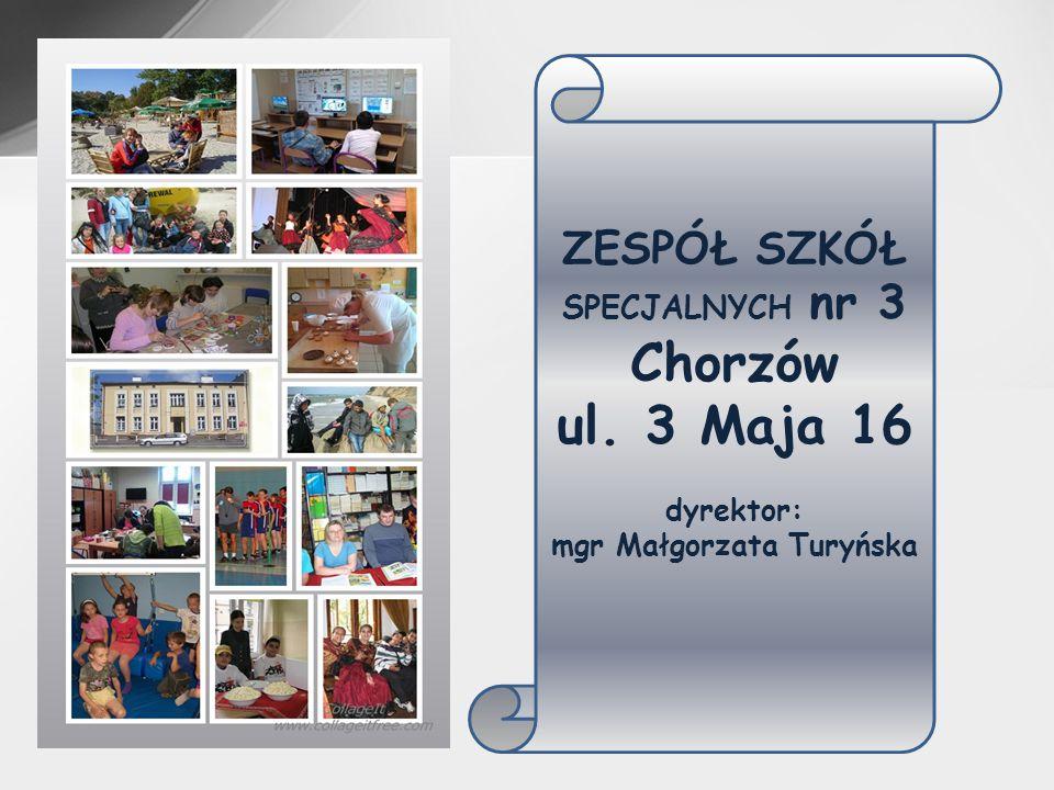 ZESPÓŁ SZKÓŁ SPECJALNYCH nr 3 Chorzów ul. 3 Maja 16 dyrektor: mgr Małgorzata Turyńska