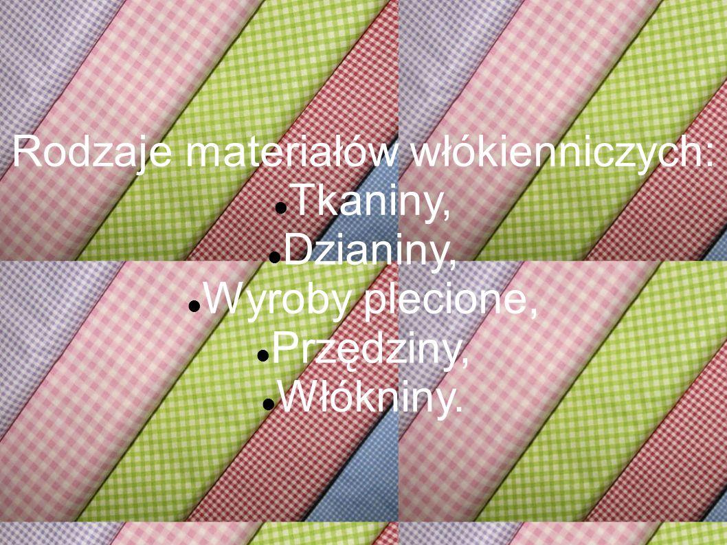 Rodzaje materiałów włókienniczych: Tkaniny, Dzianiny, Wyroby plecione, Przędziny, Włókniny.
