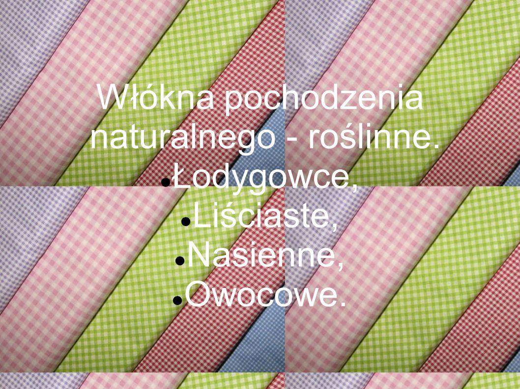 Włókna pochodzenia naturalnego - roślinne. Łodygowce, Liściaste, Nasienne, Owocowe.