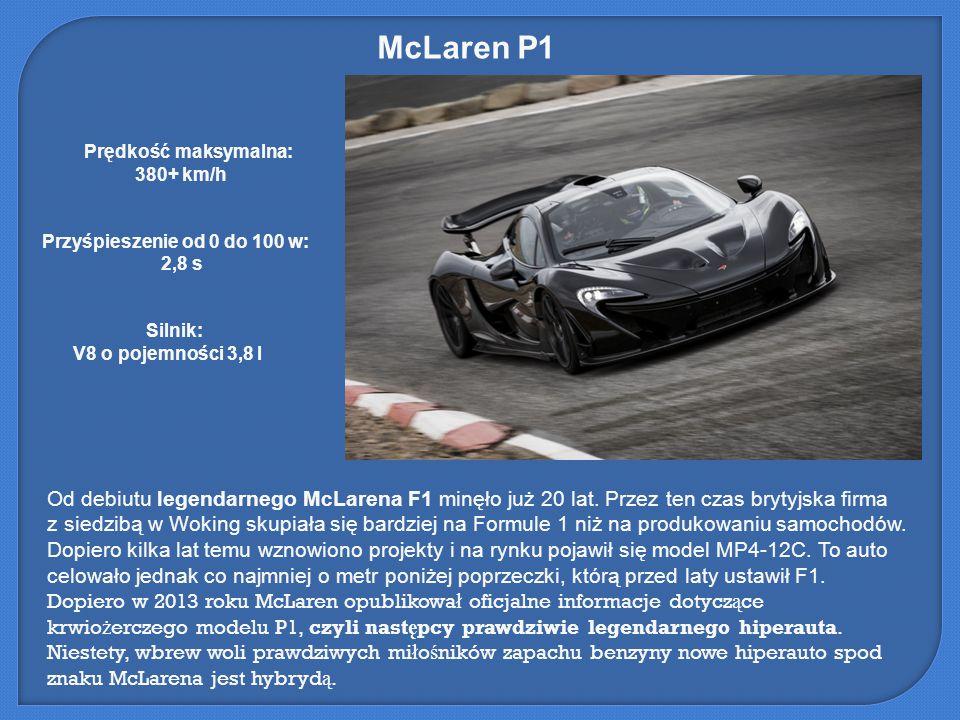McLaren P1 Od debiutu legendarnego McLarena F1 minęło już 20 lat. Przez ten czas brytyjska firma z siedzibą w Woking skupiała się bardziej na Formule